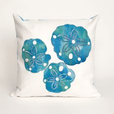 "Liora Manne Visions Ii Sand Dollar Indoor/Outdoor Pillow - Blue, 20"" Square"