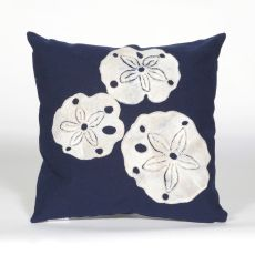 "Liora Manne Visions Ii Sand Dollar Indoor/Outdoor Pillow - Navy, 20"" Square"