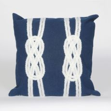 "Liora Manne Visions Ii Double Knot Indoor/Outdoor Pillow - Navy, 20"" Square"