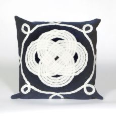 "Liora Manne Visions Ii Ornamental Knot Indoor/Outdoor Pillow - Navy, 20"" Square"