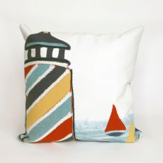 "Liora Manne Visions Ii Lighthouse Indoor/Outdoor Pillow - White, 20"" Square"