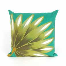 "Liora Manne Visions Ii Palm Fan Indoor/Outdoor Pillow - Blue, 20"" Square"