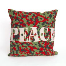 "Liora Manne Visions Ii Peace Indoor/Outdoor Pillow - Red, 20"" Square"