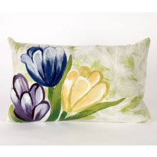 "Liora Manne Visions Iii Tulips Indoor/Outdoor Pillow - Blue, 12"" By 20"""