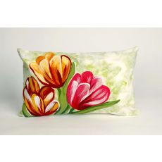 """Liora Manne Visions Iii Tulips Indoor/Outdoor Pillow - Red, 12"""" By 20"""""""