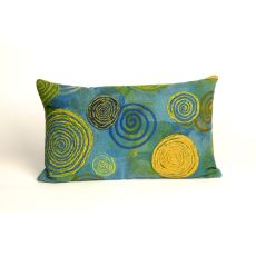 "Liora Manne Visions Iii Graffiti Swirl Indoor/Outdoor Pillow - Blue, 12"" By 20"""