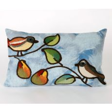 "Liora Manne Visions Iii Song Birds Indoor/Outdoor Pillow - Blue, 12"" By 20"""