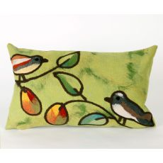 "Liora Manne Visions Iii Song Birds Indoor/Outdoor Pillow - Green, 12"" By 20"""