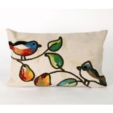 "Liora Manne Visions Iii Song Birds Indoor/Outdoor Pillow - Ivory, 12"" By 20"""