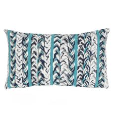 "Liora Manne Visions Iii Braided Stripe Indoor/Outdoor Pillow - Blue, 12"" By 20"""