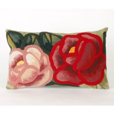 "Liora Manne Visions Iii Crochet Flower Indoor/Outdoor Pillow - Green, 12"" By 20"""