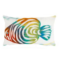 "Liora Manne Visions III Rainbow Fish Indoor/Outdoor Pillow Pearl 12""x20"""