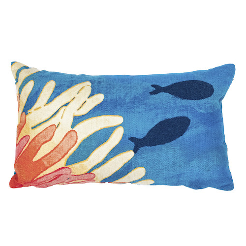 "Liora Manne Visions III Reef & Fish Indoor/Outdoor Pillow Coral 12""X20"""