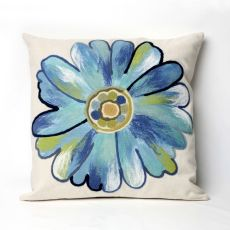 "Liora Manne Visions Iii Daisy Indoor/Outdoor Pillow - Blue, 20"" Square"