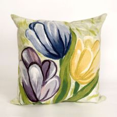 "Liora Manne Visions Iii Tulips Indoor/Outdoor Pillow - Blue, 20"" Square"