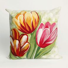 "Liora Manne Visions Iii Tulips Indoor/Outdoor Pillow - Red, 20"" Square"