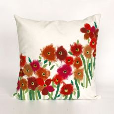 "Liora Manne Visions Iii Poppies Indoor/Outdoor Pillow - Red, 20"" Square"