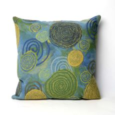 "Liora Manne Visions Iii Graffiti Swirl Indoor/Outdoor Pillow - Blue, 20"" Square"