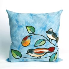 "Liora Manne Visions Iii Song Birds Indoor/Outdoor Pillow - Blue, 20"" Square"