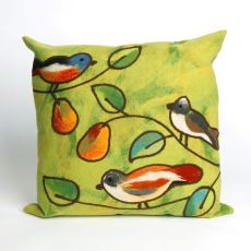 "Liora Manne Visions Iii Song Birds Indoor/Outdoor Pillow - Green, 20"" Square"