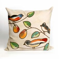 "Liora Manne Visions Iii Song Birds Indoor/Outdoor Pillow - Ivory, 20"" Square"