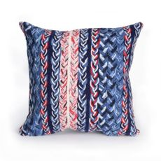 "Liora Manne Visions Iii Braided Stripe Indoor/Outdoor Pillow Navy 20"" Square"