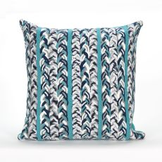 "Liora Manne Visions Iii Braided Stripe Indoor/Outdoor Pillow - Blue, 20"" Square"