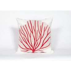 "Liora Manne Visions Iii Coral Fan Indoor/Outdoor Pillow - Orange, 20"" Square"
