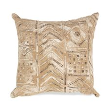 """Liora Manne Visions III Bambara Indoor/Outdoor Pillow Biscotti 20"""" Square"""
