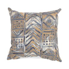"""Liora Manne Visions III Bambara Indoor/Outdoor Pillow Indigo 20"""" Square"""