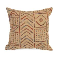 "Liora Manne Visions III Bambara Indoor/Outdoor Pillow Multi 20"" Square"