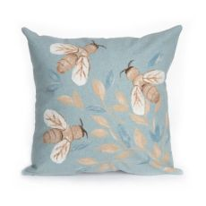 "Liora Manne Visions Iii Bees Indoor/Outdoor Pillow Aqua 20"" Square"