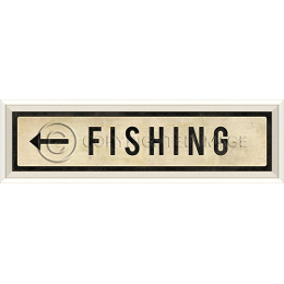 Fishing Left Art Sign