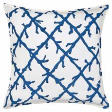 Blue Coral Lattice Cotton Canvas Pillow