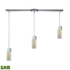 Cubic Ice 3 Light Linear Bar Fixture In Polished Chrome With Solid Textured Glass