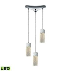 Cubic Ice 3 Light Triangle Pan Fixture In Polished Chrome With Solid Textured Glass