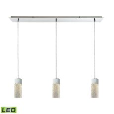 Cubic Ice 3 Light Linear Pan Fixture In Polished Chrome With Solid Textured Glass