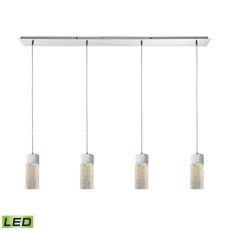 Cubic Ice 4 Light Linear Pan Fixture In Polished Chrome With Solid Textured Glass