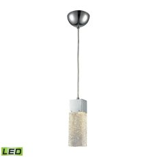 Cubic Ice 1 Light Pendant In Polished Chrome With Solid Textured Glass - Includes Recessed Lighting Kit