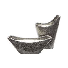 Filled Reaction Candleholders In Grey - Set Of 2