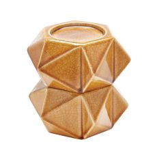 Large Ceramic Star Candle Holders In Honey - Set Of 2