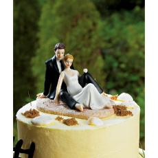 Lounging On The Beach Wedding Couple Cake Topper