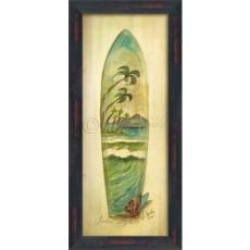 Palm Surfboard Framed Art