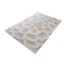 Kallista Handtufted Wool Rug In Grey And White - 5Ft X 8Ft