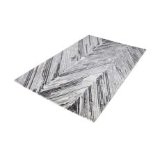 Rhythm Handwoven Printed Wool Rug In Grey And White - 5Ft X 8Ft