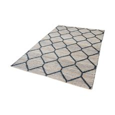 Econ Jacquard Weave Jute Rug In Natural And Black - 3Ft X 5Ft