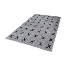 Eton Handwoven Cotton Flatweave Rug In Black And White - 5Ft X 8Ft