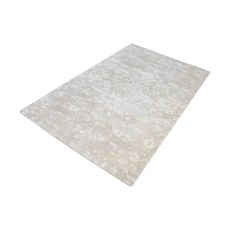 Senneh Handwoven Wool Printed Rug In Beige And White - 9Ft X 12Ft