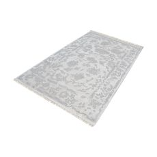 Harappa Handknotted Wool Rug In Silver And Ivory - 5Ft X 8Ft