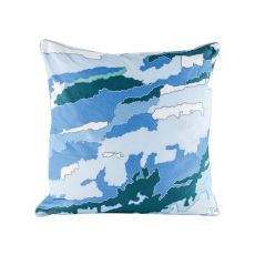 Blue Topography Pillow With Goose Down Insert